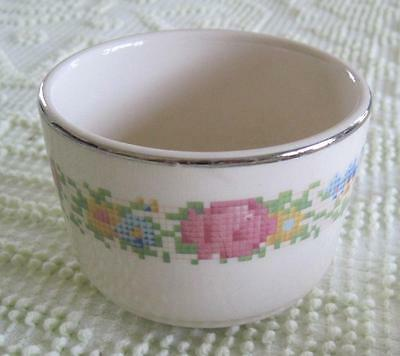"""1920's Harker Pottery Hotoven  Floral Petit Point 3.75"""" MA Baking Bowl"""