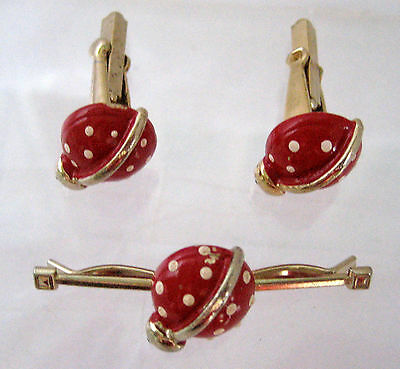 Red Enamel Lady Bug Collar Clip And Cuff Links Set Womens Vintage Gold Tone
