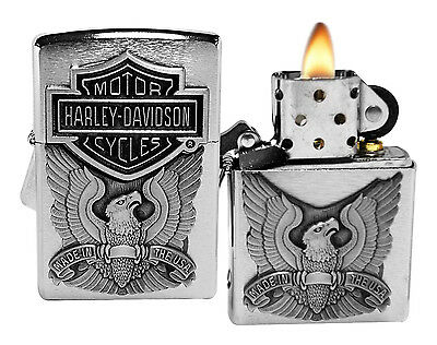 Zippo Lighter 200HD.H284 Harley Davidson Logo Emblem Brushed Chrome Windproof NE