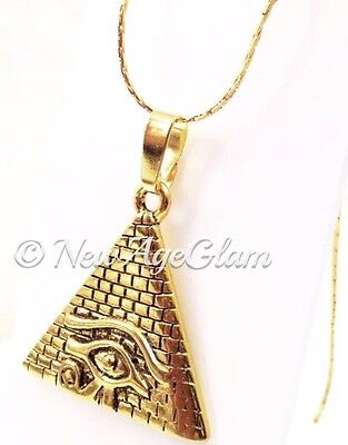 *EYE OF HORUS PYRAMID*_Antiqued Gold Pendant on Chain Necklace_Egypt_N174