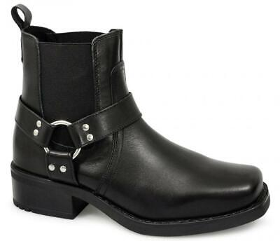 Gringos HARLEY Mens Leather Square Toe Harness Ankle Biker Cowboy Boots Black