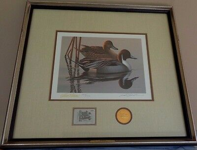 Framed Federal Duck Stamp Golden Anniversary Edition 1983 Pintails/ Wild Wings