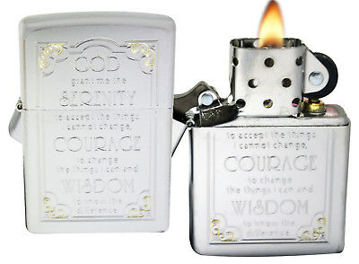 Zippo Lighter 28458 Serenity Prayer Satin Chrome Windproof NEW