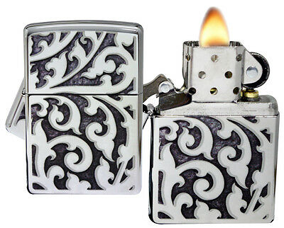 Zippo Lighter 28530 Filigree High Polish Chrome Windproof NEW