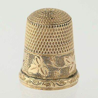 Simons Brothers Thimble - Vintage Gold Filled Floral Size 7 Sewing Collectible