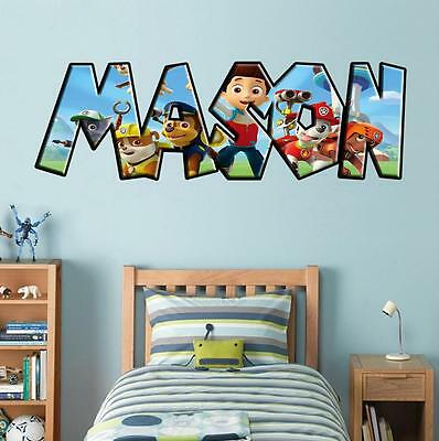 Paw Patrol PERSONALIZED NAME Decal WALL STICKER Home Decor Art Mural J249