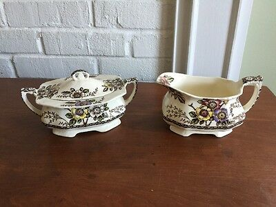 CREAM PITCHER AND SUGAR BOWL~~Alfred Meakin England~~Medway~~Good Condition