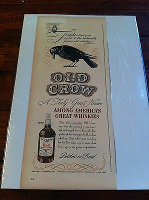 Vintage 1940 Old Crow Tonight Treat Your Palate Owl Print ad