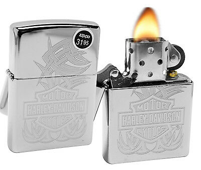 Zippo 29500 Harley Davidson High Polish Chrome Finish Windproof Lighter New