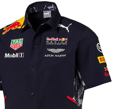Authentic Puma Red Bull Racing 2017 Collection Men Button Team Shirt 762164 01