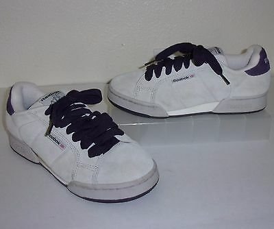 974095a146e72c Reebok Classic Womens Sand Gray   Purple Suede Sneakers size 8.5 1 2 Shoes