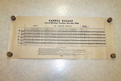Vintage 1938 St. Joseph County Indiana Voting Machine Sample Ballot