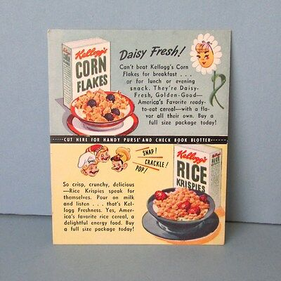 INK BLOTTER Cereal KELLOGG Rice Krispies Corn Flakes Snap Crackle Pop Vintage