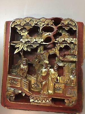 Antique Chinese Deeply Carved Gilt Wood Bas Relief Panel w/ 4 Figures & Tree