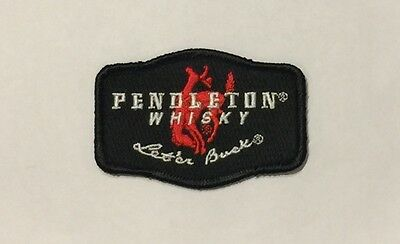 Pendleton Whisky Let'Er Buck Black Embroidered Patch Brand New