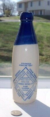 Blue Top Pottery Ginger Beer, For Licence Victuallers Pure Mineral Water Co,