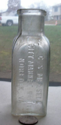 Victorian Bottle, C S Measell City Market Nos 1 To 7, Norfolk, Va