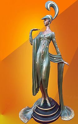 Art Deco Bronze Statue Girl Fashion Hot Cast Lady Figure Figurine