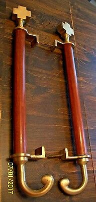 "Beautiful Pair Of, Custom Hardwood & Brass Door Handles, Huge 24"" Tall, Church ?"