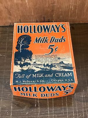 Vintage HOLLOWAY'S MILK DUDS Candy Box General Country Store Display Chicago