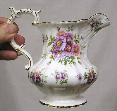 Vintage Hammersley Bone China Milk Pitcher Pink Purple Asters Gold Trim NICE!!