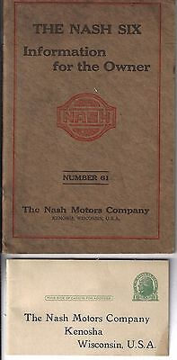 1920 Nash Six, Original Owners Manual, 6 Cylinders