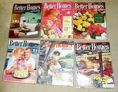 Lot of 6 Collection Better Homes & Gardens Magazine 1949 1957 1958 Mid Century