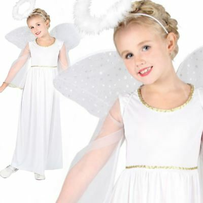 Girls Kids White Nativity Angel Xmas Christmas Fairy Fancy Dress Costume 3-13