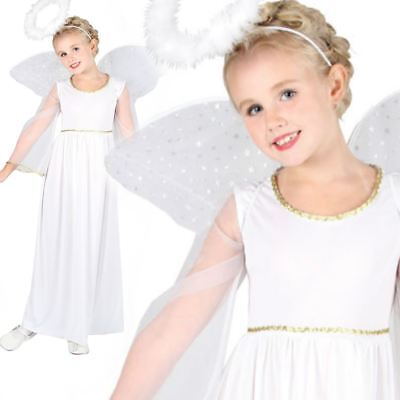 White Angel Costume Childrens Nativity Play Fancy Dress Outit With Wings