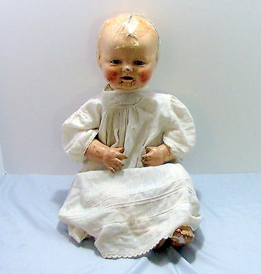 Baby Dimples 22 in. Antique 1920's Doll EIH Horsman Composition Open Mouth Teeth