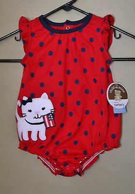 NEW Carters Kitty Cat Dress Romper Girls 3-6M USA 4th July Red White Blue