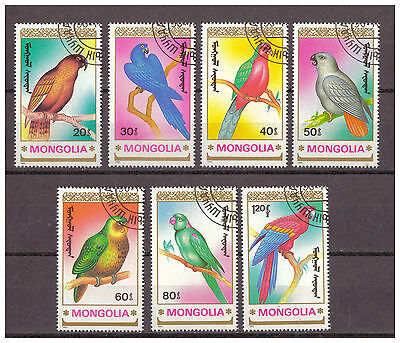 Mongolei, Papageien | Parrots MiNr. 2182 - 2188, 1990 used