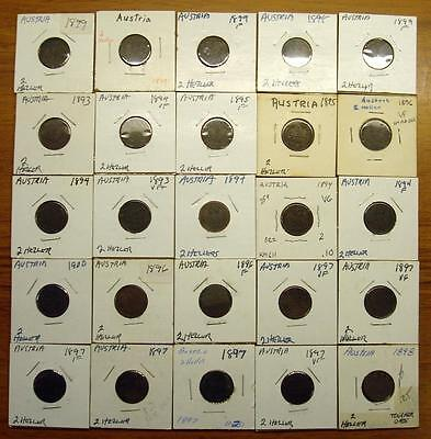 1893-1900 Date Group Lot Of Austria 2 Hellers - Some High Grade (25 Coins)