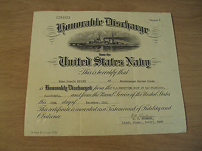 1941 WWII U.S. Navy 'HONORABLE DISCHARGE' Certificate~Post PEARL HARBOR Day~