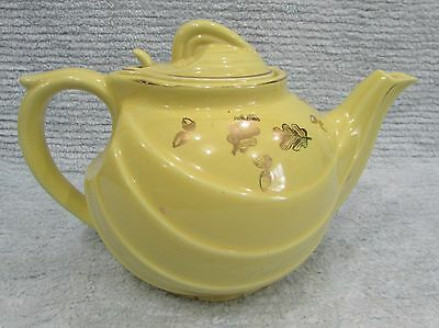 Vintage Hall USA Sundial Canary Yellow 6 Cup Teapot w Gold Leaf 0799 FREE S/H
