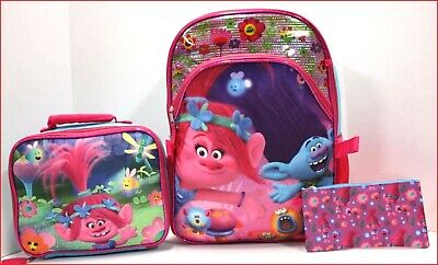 """3 pcs - TROLLS 16"""" Large Backpack + Insulated Lunch Box + PENCIL Case Pink *NEW*"""