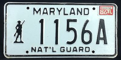 Maryland 1986 NATIONAL GUARD License Plate!