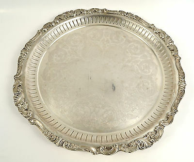 """Wallace Baroque Silverplated Pierced Footed 16.5""""  Serving Tray"""