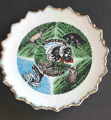 """SOUVENIR Wonderful Wisconsin Scalloped PLATE 7.5"""" with Attractions FREE SH"""