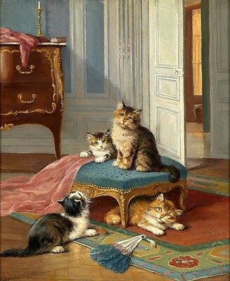 Art Deco HD Canvas Print Oil painting Picture Animals Four cats on canvas L035
