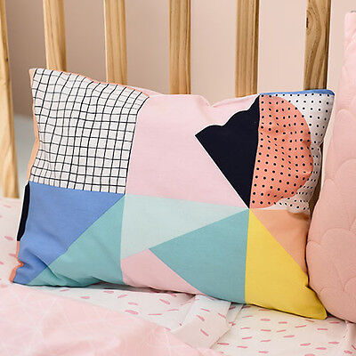 ADAIRS KIDS Pink Darcee geometric COT (Jnr Bed) QUILT COVER SET BNIP multi