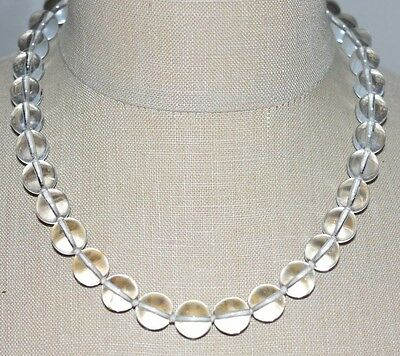 VTG ERWIN PEARL Clear Glass Bead Beaded Choker Necklace