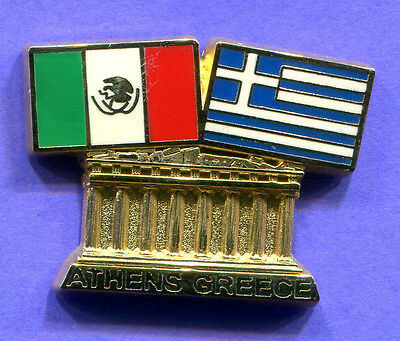 2004  Athens Olympic Pin Mexican Flag And Greece Flag- Parthenon Pin