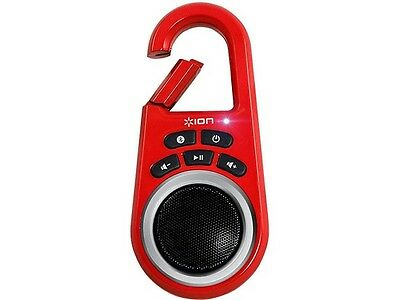 ION Clipster Ultra-Portable Bluetooth Speaker with Built-In Clip in Red