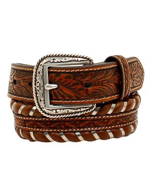Ariat Western Belt Boys Floral Embossed Laced Edges A1304808