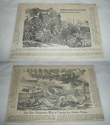 1910 Barker's Powder cartoon ad~CIRCUS TO PHILADELPHIA,FANTASY ATLANTIC CROSSING