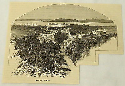 1887 engraving ~ VIEW OF HOWTH, Ireland