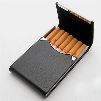 POCKET CIGARETTE CASE Metal Faux Leather  Holder Tobacco Smoking Box B
