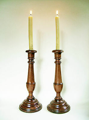 "PAIR 19th C.  12"" tall .  ENGLISH WALNUT CANDLESTICKS."