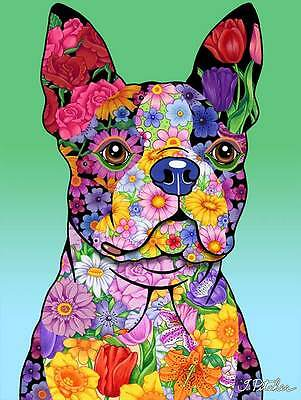 Garden Indoor/Outdoor Flowers (TP) Flag - Boston Terrier 960321